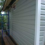 Объект №14. Монтаж окон ПВХ, обшивка сайдингом, цоколем, монтаж крыши крыльца