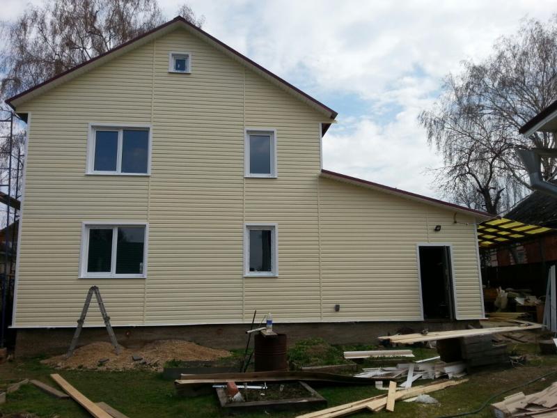 Обшивка дома сайдингом с утеплением в Волоколамске ,фото