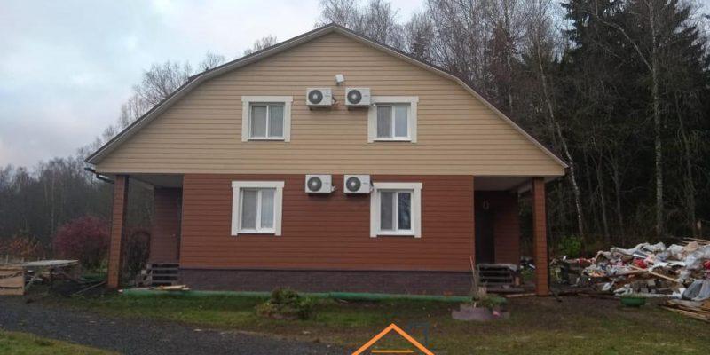 Монтаж фиброцементного сайдинга с утеплением, софита, цоколя и водосточной системы в Курьяново, фотография