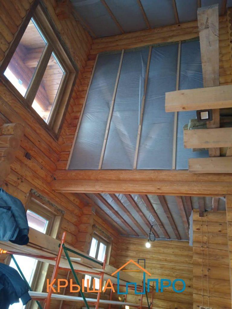 Объект № 103. Внутренняя отделка деревянного дома из бревна в Телешёво, Лотошино. Фото из портфолио.